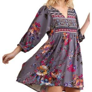 Umgee Periwinkle multi peasant boho tunic dress